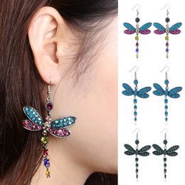 dragonfly hooks NZ - 1 Pair New Crystal Rhinestone Silver Plated Hook Earrings Fashion Colors Dragonfly Hook Gorgeous Gorgeous Earrings Brincos Mujer