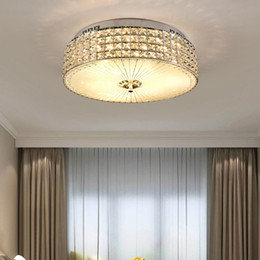 modern led circle lighting UK - New design modern luxury circle D 50cm x H 17cm crystal chandelier lights led flush mount creative ceiling lamps for bedroom entryway