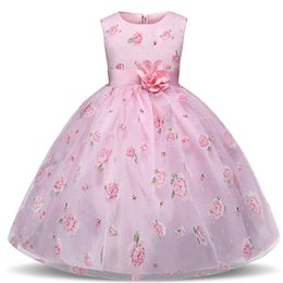 party clothes for little girls UK - Flower Girl Dress Princess Pink Children Kids Dresses For Girls Party Little Girl Clothes For 4 5 6 7 8 10 Year Birthday Dress LY191227