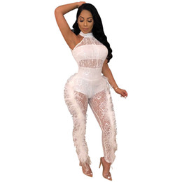 135219a9d2f0 Black Sexy See Through Mesh Jumpsuits Overalls For Women Off Shoulder Side  Feather Party Club Rompers Womens Jumpsuit
