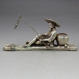Discount copper craft art - White copper old fisherman town paper retro home decoration antique bronze crafts ginger Taigong fishing