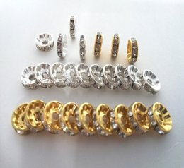 gold rhinestone bead spacers NZ - 1000pcs 6 8 10mm Gold Silver Color Grade A Rhinestone Rondelles Crystal Beads Loose Spacer Beads for DIY charms Jewelry Making