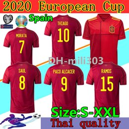 China Eruo cup 2020 Spain home soccer jersey Thai quality INIESTA RAMOS MORATA ISCO camiseta de fútbol national team THIAGO SERGIO Football Shirt cheap spain national football team suppliers
