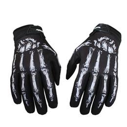 Fingerless motorcycle gloves online shopping - Men Outdoor Fitness Gloves Mittens Skeleton Skull Bone Full Finger Gloves Jeaz for Cycling Biker Racing Motorcycle