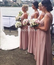 Lavender Blush Wedding Dress Australia - 2019 Blush Country Bridesmaid Dresses Sheer Jewel Neck Floor Length Draped Appliques Beads Chiffon Garden Beach Wedding Prom Party Gowns