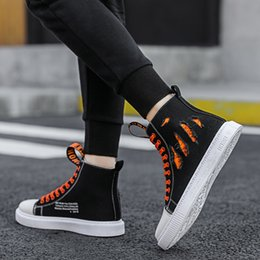 high top hip hop dance shoes UK - High-top canvas shoes junior high school white cloth shoes hip-hop street dance fashion shoes