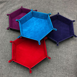 Wholesale Decorative Storage Boxes NZ - Foldable Hexagon Dice Tray Decorative Dice Box For RPG DnD Games Dice PU Leather Storage Decorative Dish