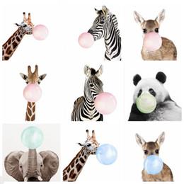 $enCountryForm.capitalKeyWord Australia - Painting Bubble Gum Animal Paintings Funny Balloon Giraffe Panda Posters Kids Room Wall Picture Christmas Nursery Decor 21 Designs YW1572