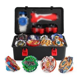 Wholesale 12pcs set New Beyblade Burst Bey Blade Toy Metal Funsion Bayblade Set Storage Box With Handle Launcher Plastic Box Toys For Children