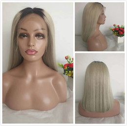 Gray ombre human hair wiG online shopping - Silver Grey Human Hair Lace Front Wig Colored Glueless Short Bob Wig For Black Women Cheap B Gray Brazilian Straight Ombre Full Lace Wig