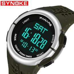 Wholesale SYNOKE Hours Dual Time Men Digital Watch Japan Battery Chronograph Alarm Watches Man LDE Sport Wristwatch Male