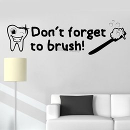 Bathroom Wall Sticker Quotes Australia - Don't forget to brush Quotes Wall Stickers Dental Decals Art Bathroom Vinyl Art Mural Waterproof Wallpaper Cute Baby Room 56*190 cm
