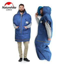 $enCountryForm.capitalKeyWord NZ - Naturehike Jacket Style Removable Mummy Sleeping Bag With Pocket 380T Nylon Waterproof Filling Down Cotton Camping Sleeping Bags