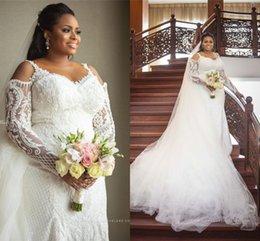 HigH neck long sleeve cHiffon dress online shopping - Luxury Long Sleevs Jewel Neck Mermaid Wedding Dress Sexy Plus Size Lace Appliqued African Bridal Gown