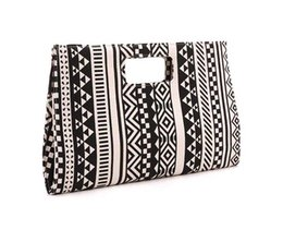 $enCountryForm.capitalKeyWord UK - Geometric pattern clutch bag New classic beauty women dinner evening bags ladies canvas black white geometric pattern clutch bag handbags
