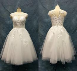 2990605696d Lace Pearls Beaded Tea Length Wedding Dresses Sheer Neckline Cap Sleeve  Applique Tulle Country Wedding Dress vestido de fiesta Plus Size
