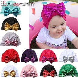 Girl Hat Styles Summer Australia - glittery sweet Bohemian Style Baby Hats Sequins Bowknot Kids Girls Cap Spring Cotton Toddler Hats Clothing Accessories