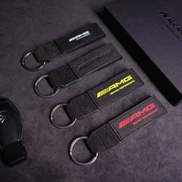 $enCountryForm.capitalKeyWord Australia - 1Pcs Frosted Leather Car Key Chains Key Ring Key Case Holder for AMG Mercedes Benz