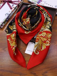 $enCountryForm.capitalKeyWord Australia - Women Scarf Retro Ladies Silk Scarvs Bandana Fashion Printed Hijab Scarf Leopard Chain Pattern Large Square Scarves Wrap 110*110cm