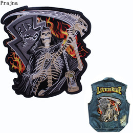 Wholesale punk biker clothing for sale - Group buy Prajna Grim Reaper Embroidered Iron On Patches For Clothes Punk Skull Biker Stickers Hourglass Patch For Biker Jeans Stickers F