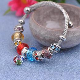 Faceted Bracelets Australia - 5pcs Titanium Steel Wire Bracelets Charms Fit Pandora Women Faceted Murano Glass Crystal Beads Bangle Multicolor Cubic Zircon Pendant