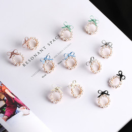 pearl bow dangle earrings Australia - 2019 New Summer Lovely Colourful Bow Earrings For Women Geometry Circle Simulated Pearl Stud Earrings Boucle D'oreille Brinco