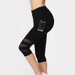 $enCountryForm.capitalKeyWord Australia - Women Legging Ptachwork Mesh Black Capri Leggings Plus Size Sexy Fitness Sporting Pants with Pocket Mid-Calf Trousers jegging