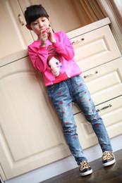c5127e86e98 Children s Clothing 2019 Spring Female Child Pants Lips Children Trousers  Girls Slim Jeans