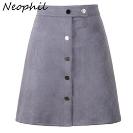 $enCountryForm.capitalKeyWord Australia - Neophil 2019 Winter Women Suede Button Mini Vintage Style A Line Skirts High Waist Black Wrap Ladies Short Skirt Tutu Saia S1001 MX190731