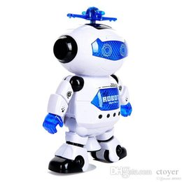 Discount dancing musical toys - JF Dancing Robot 360 Rotating Space Electronic Infrared Musical Walk Lighten Electronic Toy Christmas Birthday Gifs For