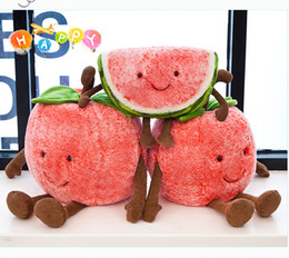 Wholesale Hot Selling cherry Watermelon Creative Pillow Cute Cherry Plush Toy Girl Heart Fruit Doll Cartoon Children Birthday lovely Gift