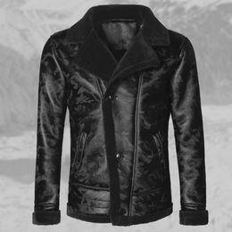 $enCountryForm.capitalKeyWord Australia - Plush Faux Leather Jacket Men Winter Motorcycle Black Camouflage Mens Fur Coats Lamb Wool Fur Collar Male Outwear Bomber Clothes