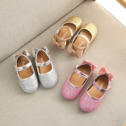 Year boYs casual shoes online shopping - New fashion baby girls bling princess shoes years old bowknot casual shoes soft dancing newborn first walk sports shoe