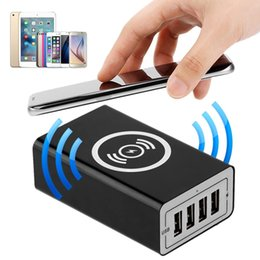 Cell Phone Charger Ports Australia - Wireless Charging Station With 4 USB Ports Tablet Cell Phone Charger EU US UK AU Plug Universal For iphone Huawei Xiaomi HTC