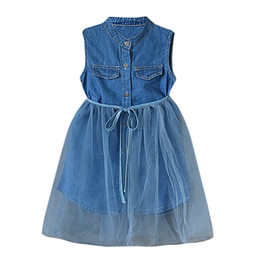 Clothing Dropshipping Australia - Girls Dress Toddler Summer Baby Girls Kid Denim Pachwork Lace Dress Outfits Clothes kids dresses for vestidos Dropshipping
