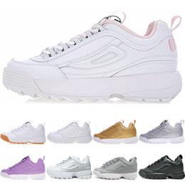 Venta al por mayor de FILA disruptor 2 II descuento Disruptors II running casual shoes for men women new White Gum Silver blanco negro gris moda zapatillas deportivas para hombre zapatos chaussure