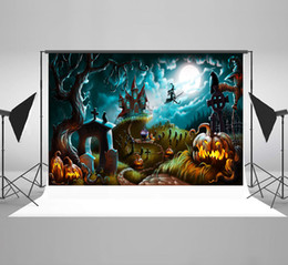 paint muslin backdrop Canada - Kate Halloween Themed Party Photography Backdrops Scary Haunted Castle Photo Background Moon Night Grimace Pumpkin Microfiber Backdrop