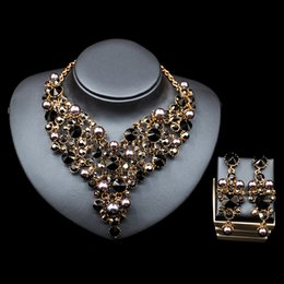 Wholesale Charming Black Champagne Silver Crystals Jewelry Pieces Sets Necklace Earrings Bridal Jewelry Bridal Accessories Wedding Jewelry T227384