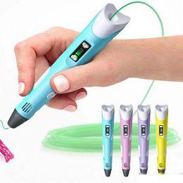Paint Art 3d NZ - Hot 3D Drawing Pen DIY 3D Printer Pen ABS Filament Arts 3D Printing Pen LCD Educational Gift For Kids Design Painting Drawing C13