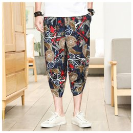 wide leg orange pants 2019 - Men's casual pants Men's Wide Crotch Harem Pants Loose Large Cropped Trousers Wide-legged Bloomers Chinese Sty