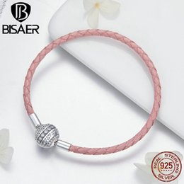 $enCountryForm.capitalKeyWord Australia - Bisaer Real 925 Sterling Silver Pink Rope Leather Bracelets For Women Clear Cz Round Clasp Rope Bracelets Silver Jewelry Ecb114 MX190727