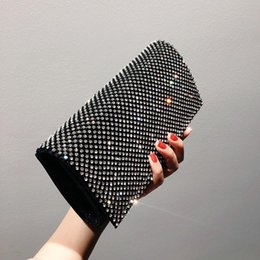 Wholesale Bag women new summer clutch bag fashion net red dinner dress with diamonds shiny small handbag