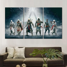 $enCountryForm.capitalKeyWord UK - Canvas printed painting assassins creed altair ezio connor edward 3 modular wall pictures for living room