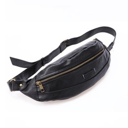 sling pack fashion Australia - Men Fashion Leather Travel Hiking Cross Body Messenger Shoulder Sling Chest Belt Hip Bum Fanny Pack Wasit Bag Pouch