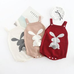 Jumpsuits Rabbit Girl NZ - INS Baby Romper Rabbit Tail Infant Suspender Jumpsuits 100% Cotton Baby Girls Rompers Cute Newborn Clothes Kids Clothing 3 Colors YW2039