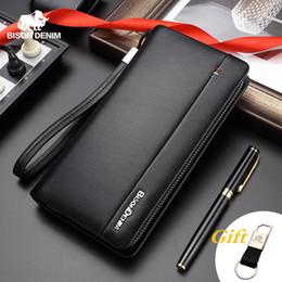 $enCountryForm.capitalKeyWord Australia - Cheap BISON DENIM Genuine Leather Long Wallet Men's Clutch Bag Cowskin Leather Wallets For Male Coin Purse Business Wallets N8008