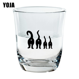 funny family stickers Australia - YOJA 6X4.3CM 6pcs CAT FAMILY Funny Cartoon Wall Decal Home Cups Decor Wine Glass Sticker G1-0310