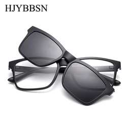 night driving sunglasses wholesale UK - HJYBBSN Clip on Sunglasses clip on glasses square Lens Men Women mirror Sun Glasses Night Vision Driving sunglasses for men
