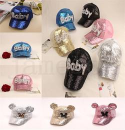 $enCountryForm.capitalKeyWord Australia - 17 style Sequins Kids Hats Glitter Baby M Printed Baseball Caps Boys Snapback Hip-hop Hat Summer Sunscreen Cap Mesh Ball Hat dc383