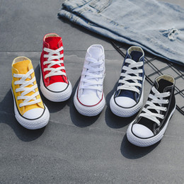 Girls hiGh top sneakers kids online shopping - Kids shoes baby canvas Sneakers Breathable Leisure designer shoes children boys girls High top Shoes colors C6542